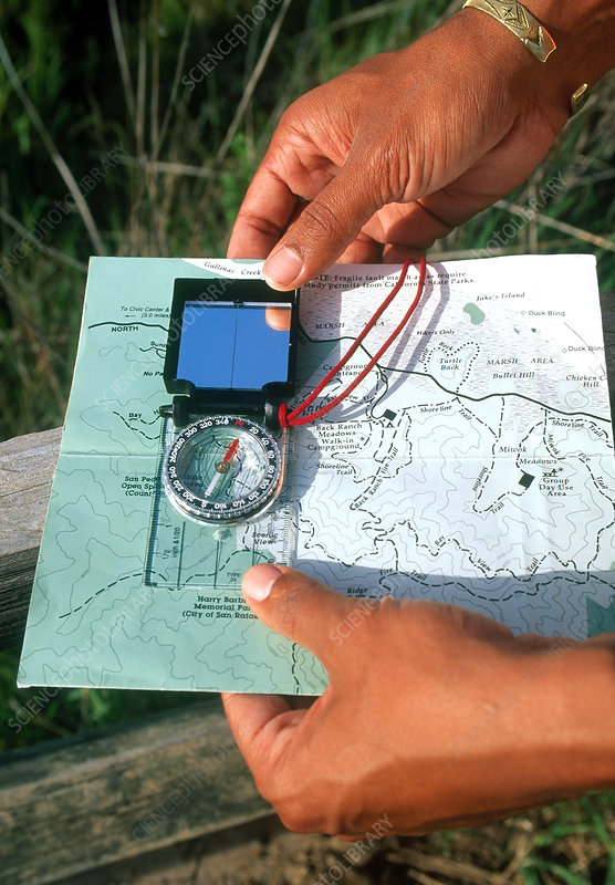 Hiking with a compass and map