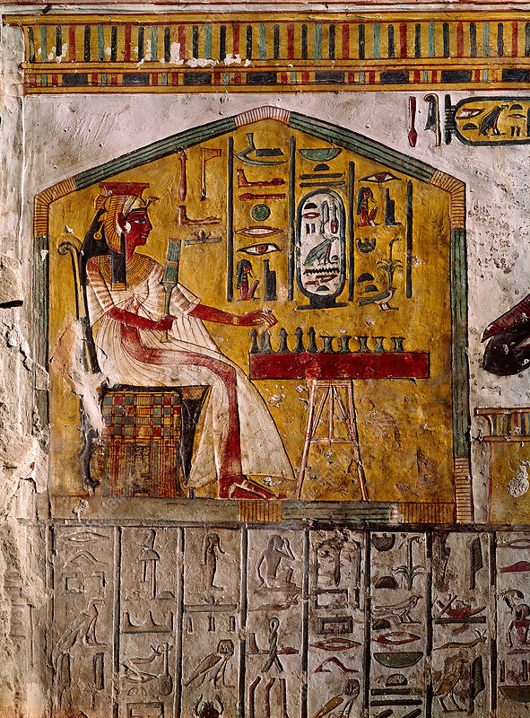 Relief of Nefertari Playing Chess