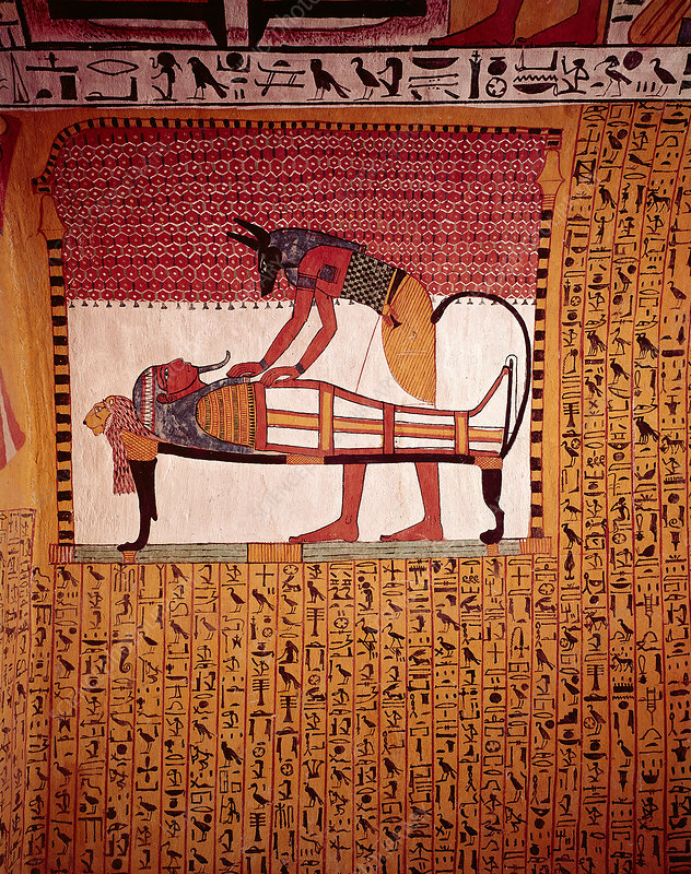 Anubis Preparing Sennedjem Mummy