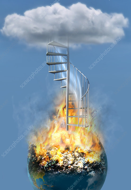 Disaster Earth Stairs Cloud, illustration