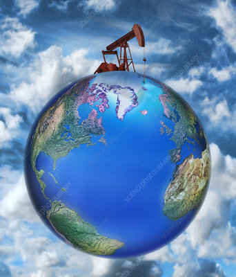 Pumpjack on top of Earth, illustration