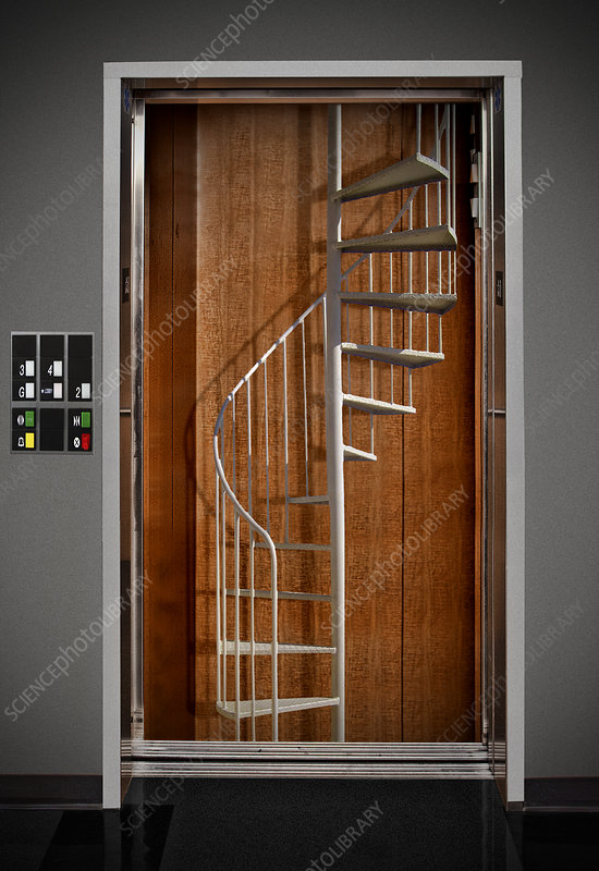 Elevator with Stairs, illustration