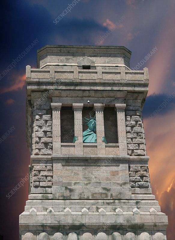 Statue of Liberty Hiding, illustration