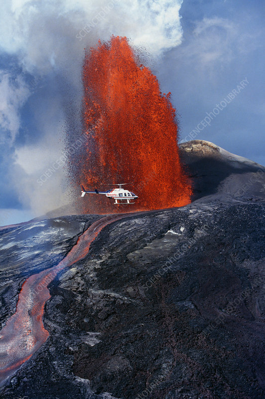 Helicopter and Lava Fountain, Hawaii