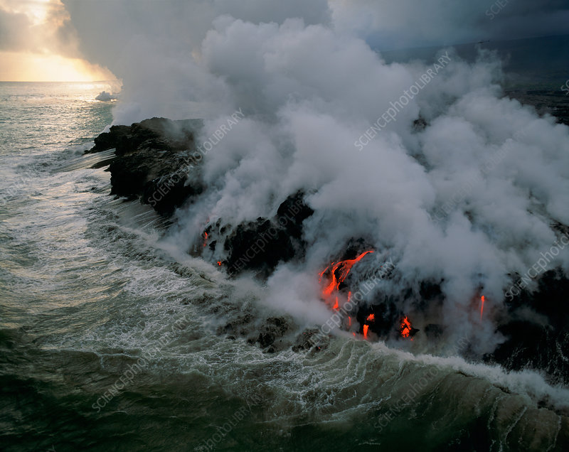 Lava Flowing into the Ocean, Hawaii