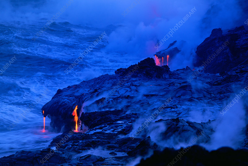 Lava Streams Into the Ocean, Hawaii