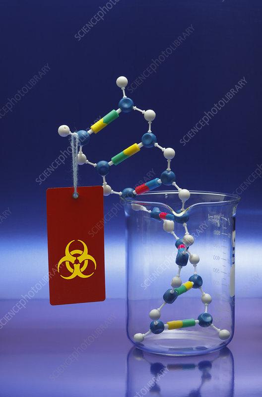 DNA Double Helix with Biohazard Symbol