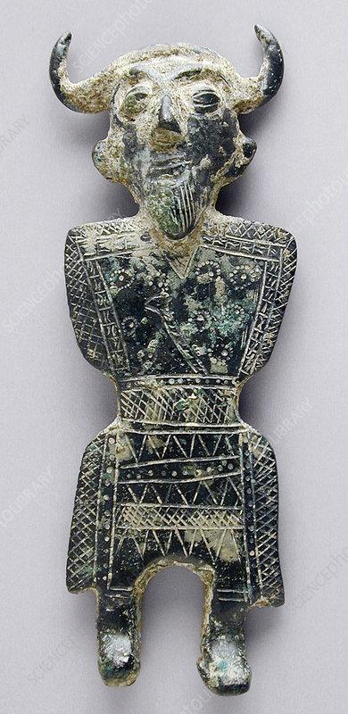 Bronze Horned Male Figure