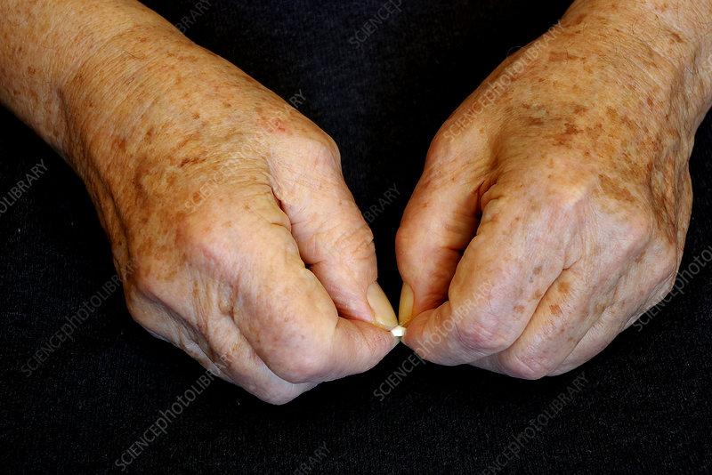 Elderly hands break a pill