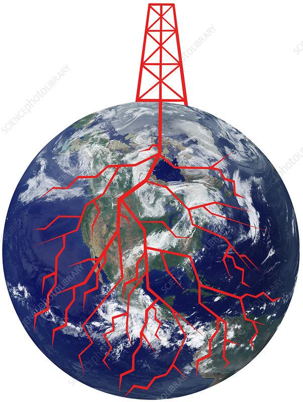 Fracking or Oil Dependence, illustration