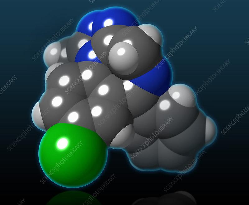 Alprazolam Molecular Model, illustration