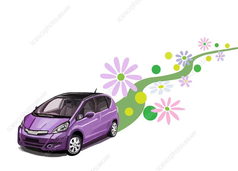 Green Car, illustration