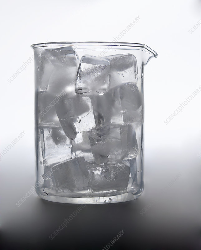 Beaker Filled with Ice Cubes