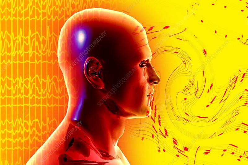 Brain Waves and Music, illustration