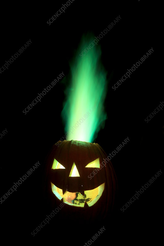 Coloured Flame in Burning Pumpkin