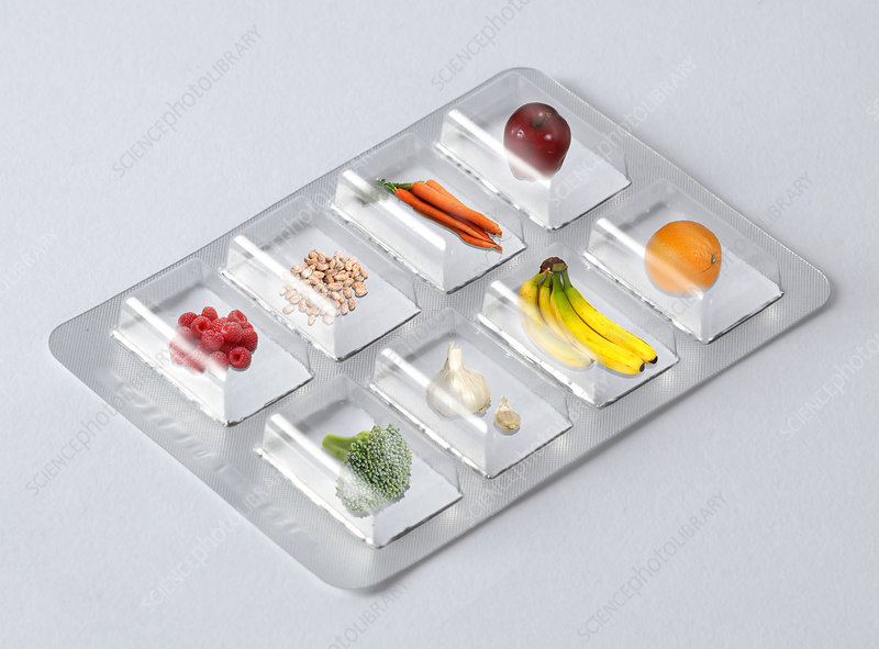 Health Food in a Pill Pack, illustration