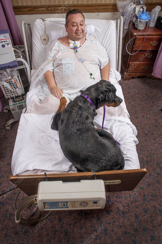 Patient at Rehabilitation Clinic with Dog