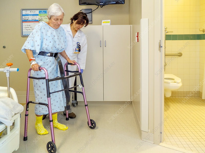 Post Surgery Patient Using a Walker