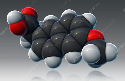 Naproxen, Molecular Model, illustration