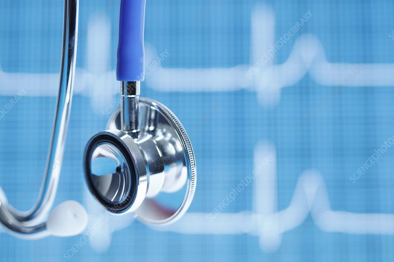 Stethoscope with ECG in Background