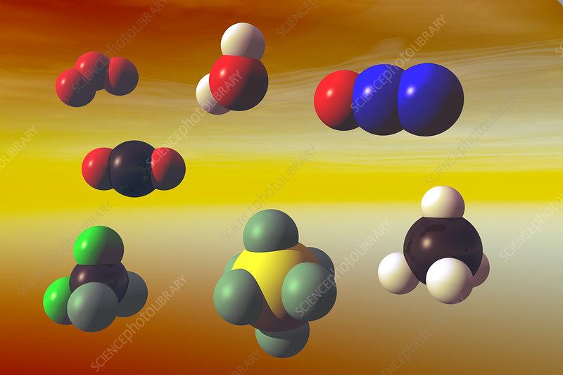 Greenhouse Gas molecule, illustration