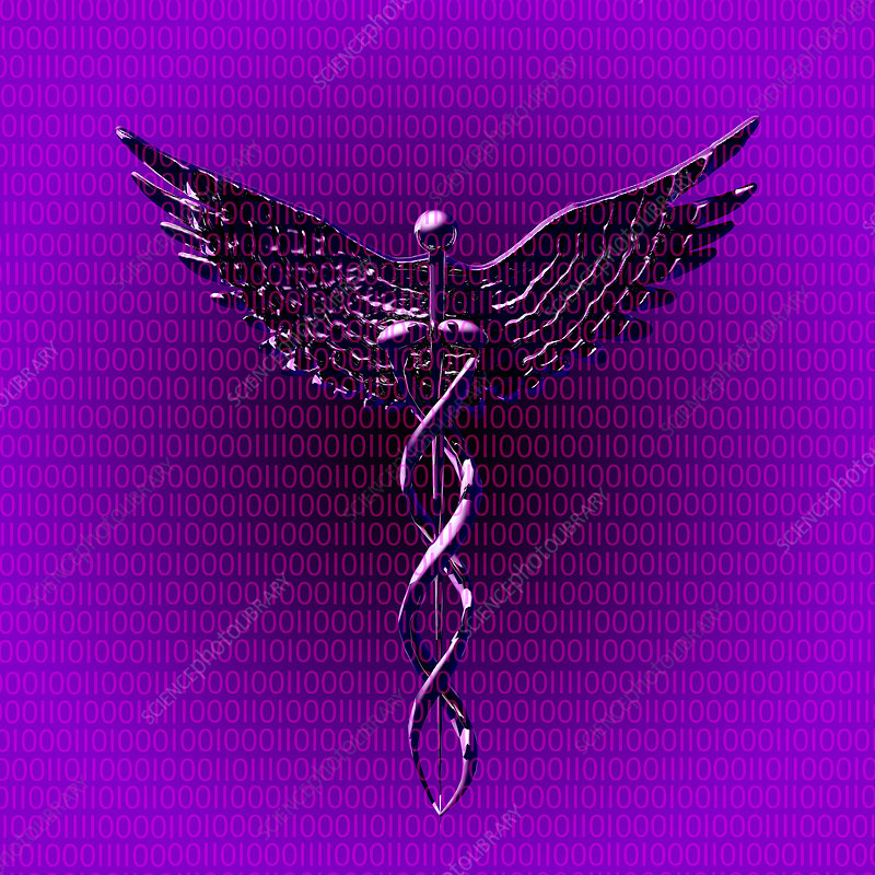 Caduceus With Binary Code, illustration