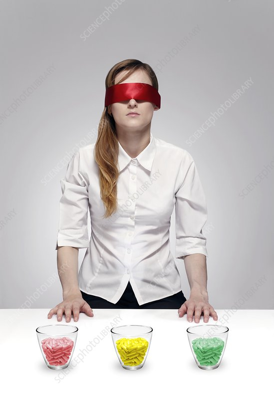 Blind drug trial, conceptual image