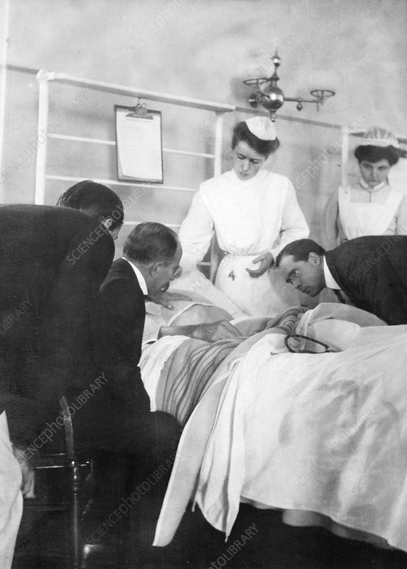 William Osler attending a patient, 1900s