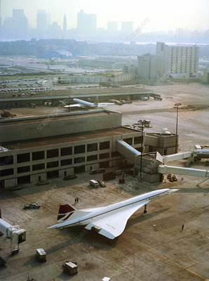 Concorde at an airport, 1975