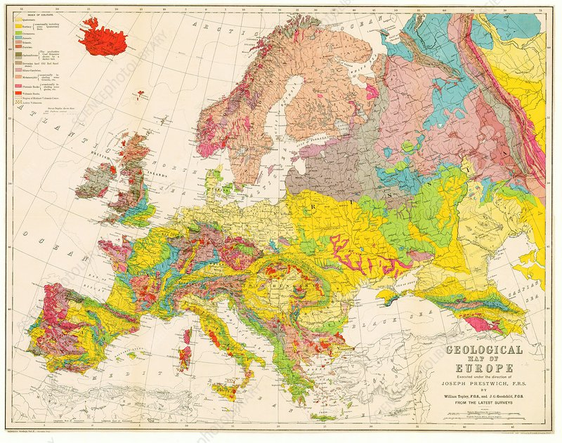 Geological Map Of Europe 1860 Stock Image C028 4169 Science