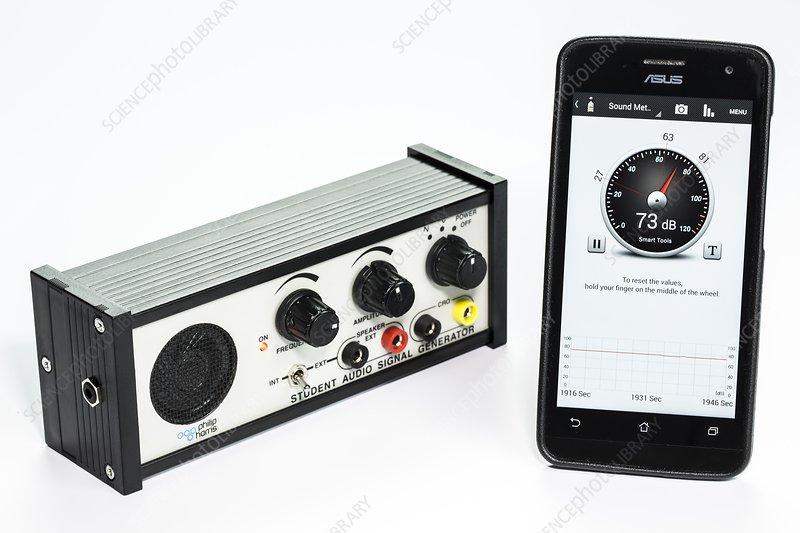 Audio Signal Generator : Student smart audio signal generator stock image c