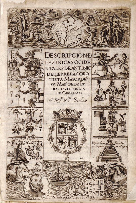 Spanish New World atlas title page, 1601