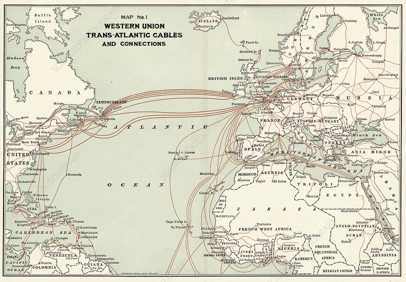 Western Union transatlantic cables, 1900 - Stock Image C028