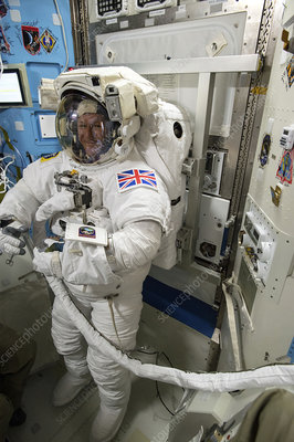 Tim Peake preparing for spacewalk, 2016