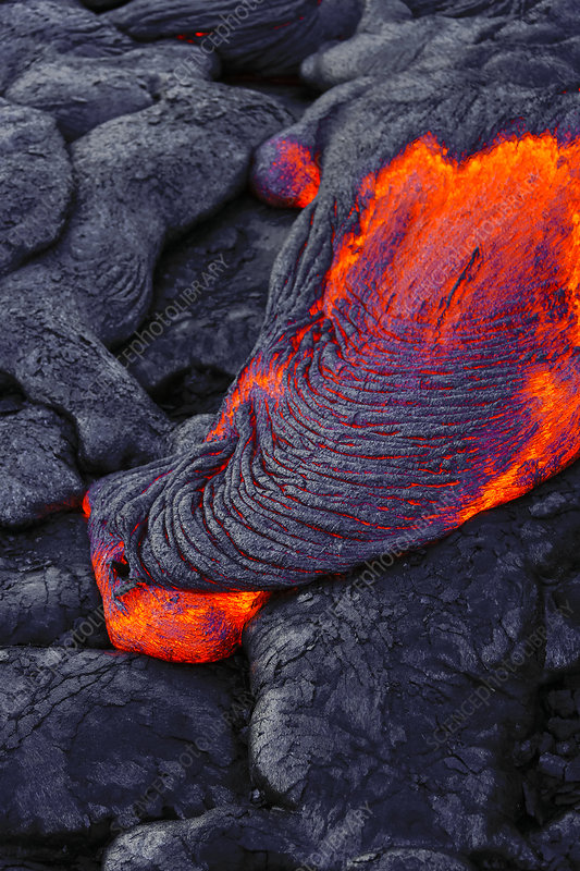 Lava Flowing into Ocean, Hawaii