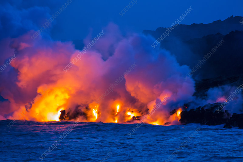 Lava Flowing into Ocean at Night, Hawaii