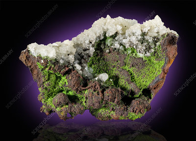 Conichalcite with Calcite