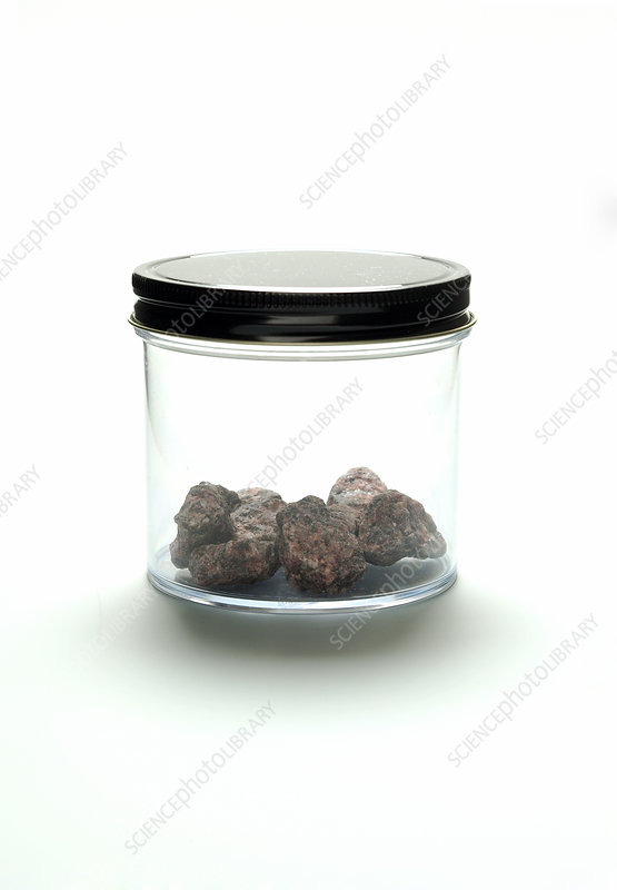 Clear Glass Jar Containing Granite Rock
