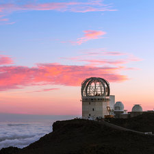 Sunset over Haleakala observatories