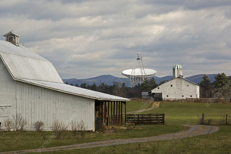 Green Bank Telescope and farm buildings