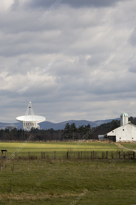 Green Bank Telescope and farm building