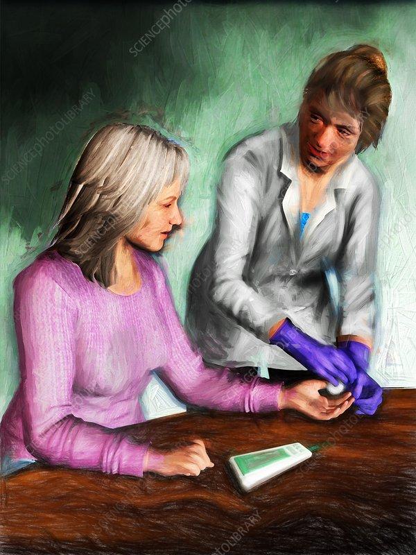 Diabetic patient blood test, illustration