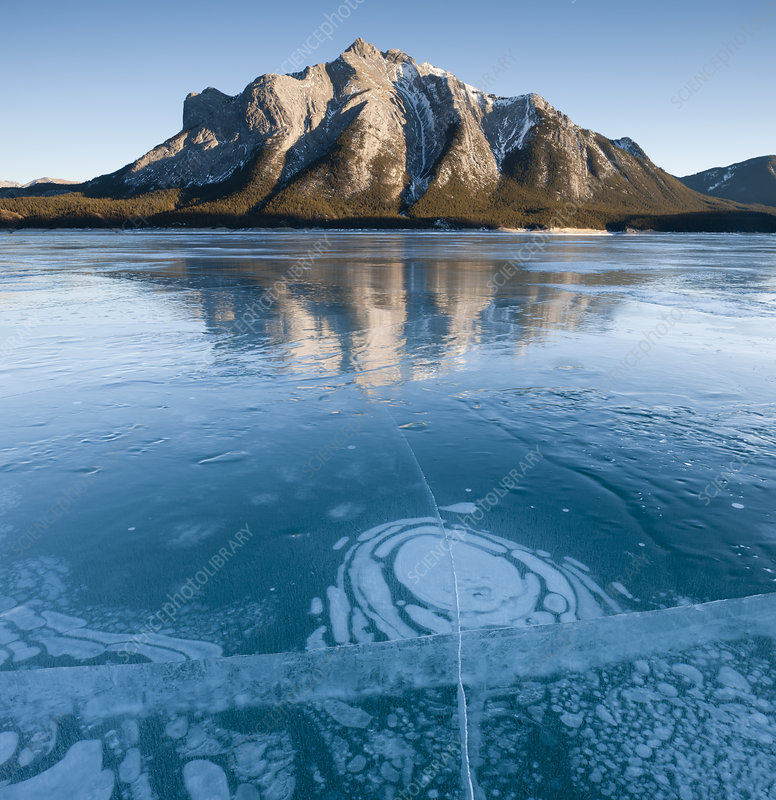 Mt. Michener and Ice on Abraham Lake