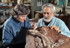 Paleontologists with Fossil