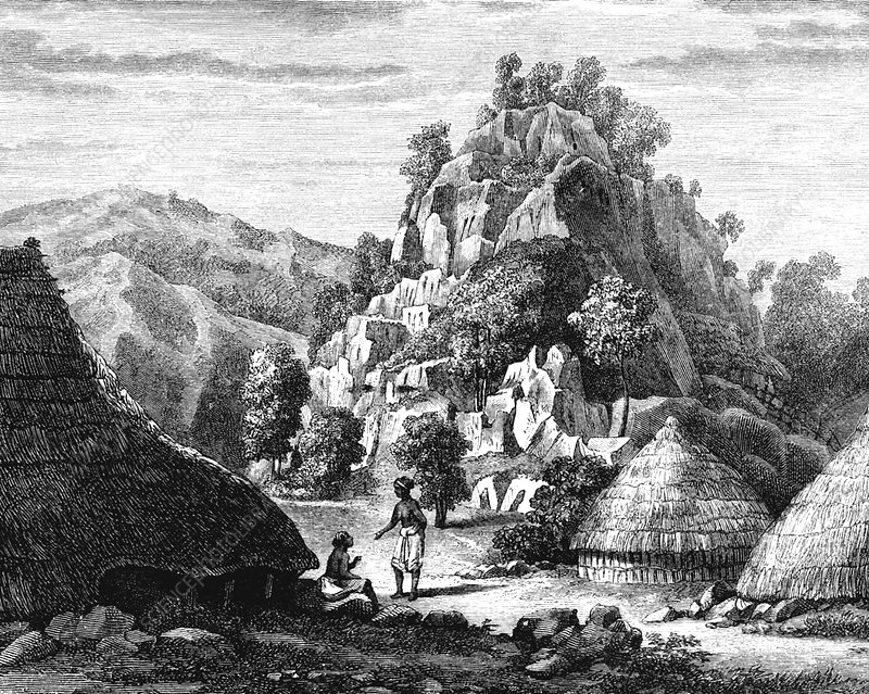Timor village, 19th Century illustration