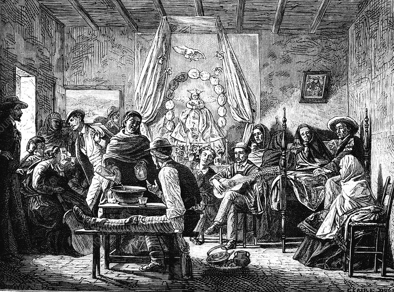 Mourning feast, Chile, illustration