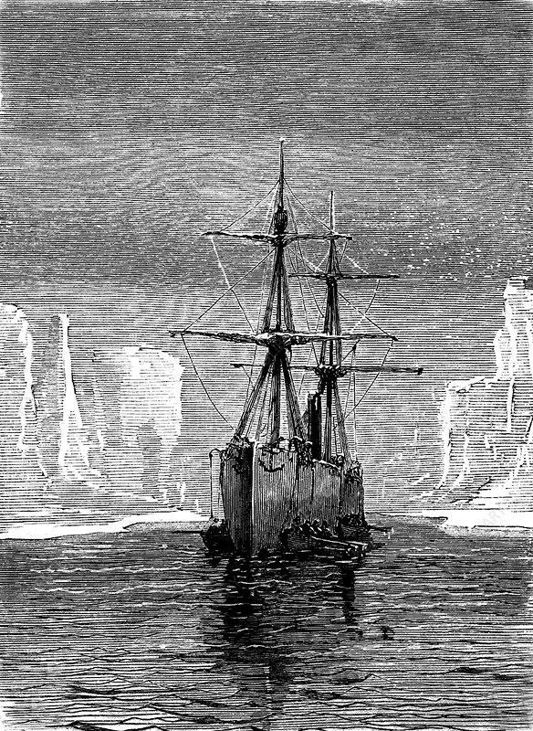 North Pole in spring, 19th C illustration