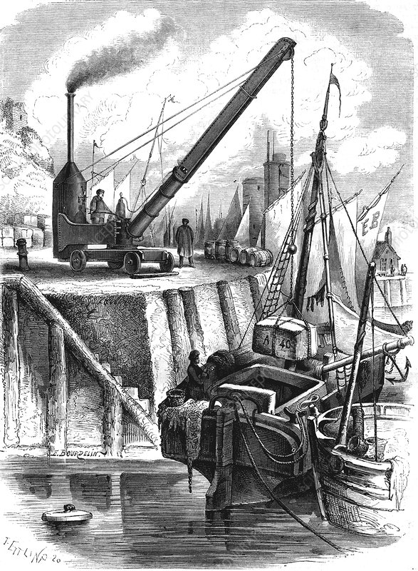 19th Century steam crane, illustration