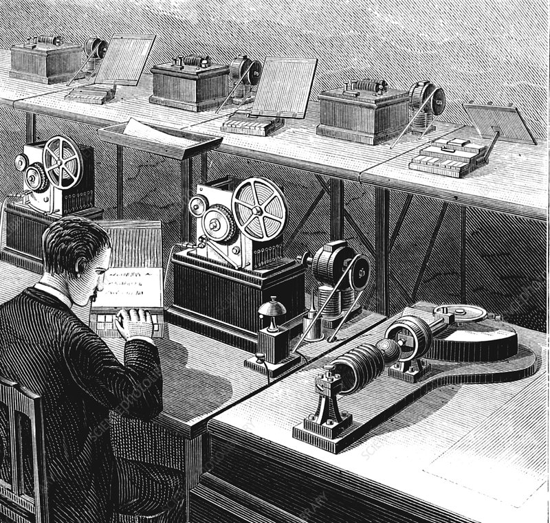 Baudot telegraph system, illustration