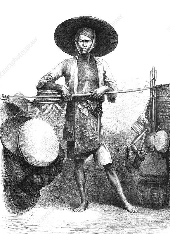 19th C Javanese merchant, illustration